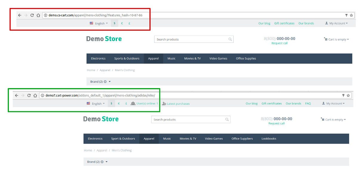 Structure and format of URLs in CS-Cart