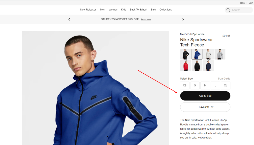 Nike, call-to-action button