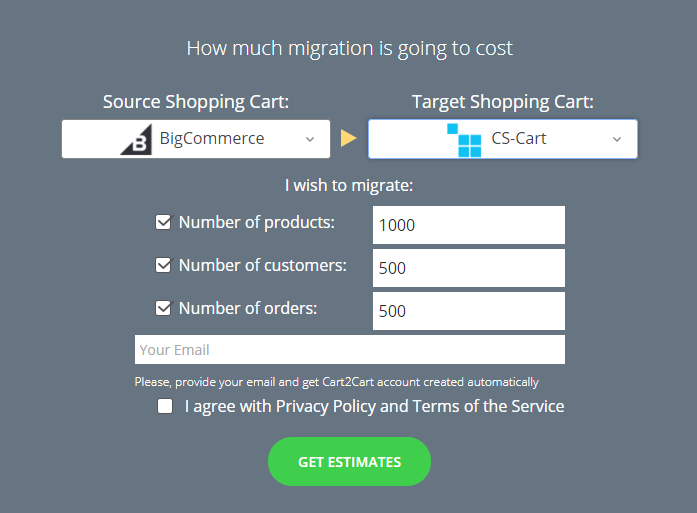 Cart2Cart online calculator